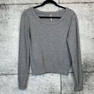 Free People // Grey Gathered Sleeve Sweater